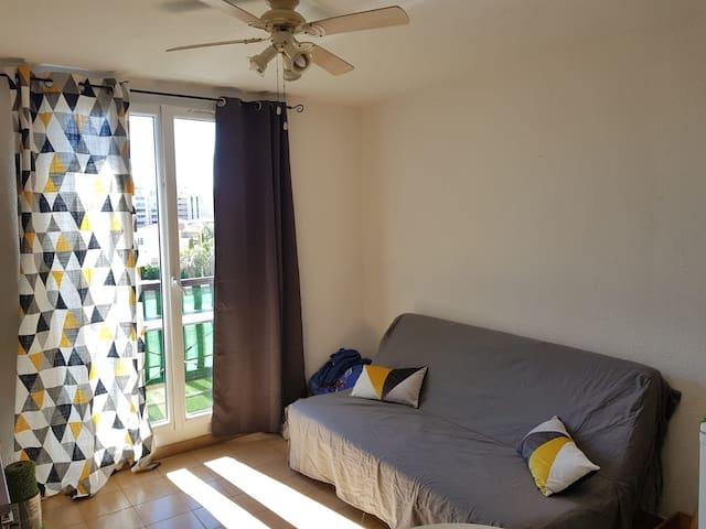 Salon avec canapé lit donnant sur le balcon face à la mer