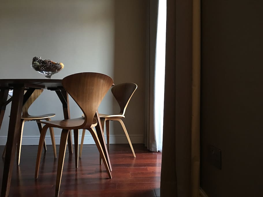 Dining area. Oak Table and Cherner Chairs