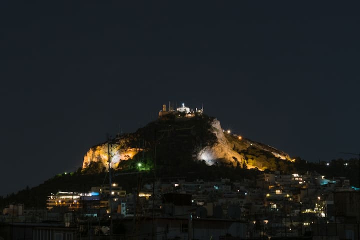 Lycabettus hill view from kitchen