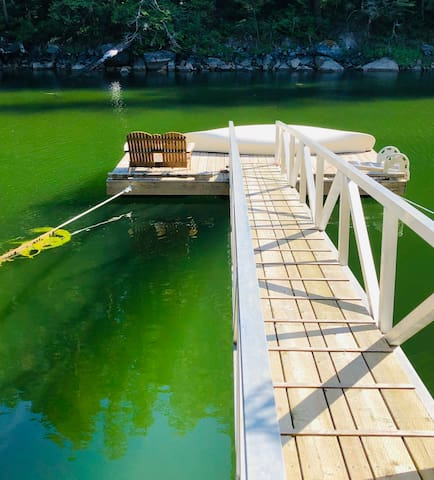 Spring emerald green waters at Treehouse private dock