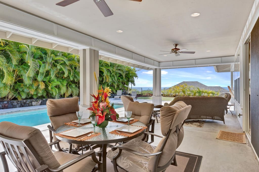 Covered Lanai with Dining and Lounging