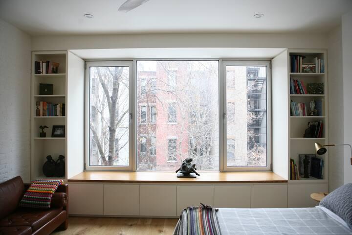 Master bedroom window, bench