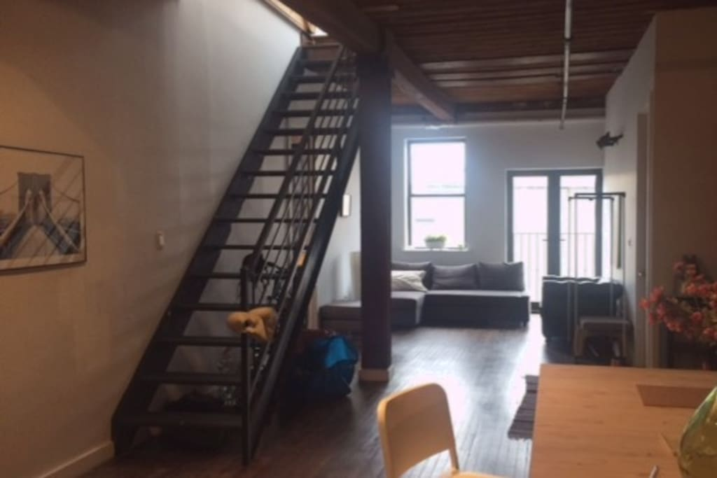 Our communal space and stairway to the roofdeck.