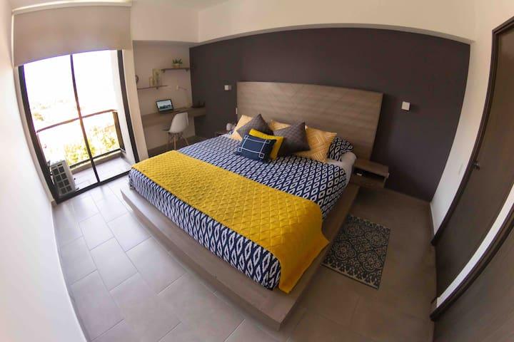 Habitación principal, acogedora y muy cálida, ideal para descansar.