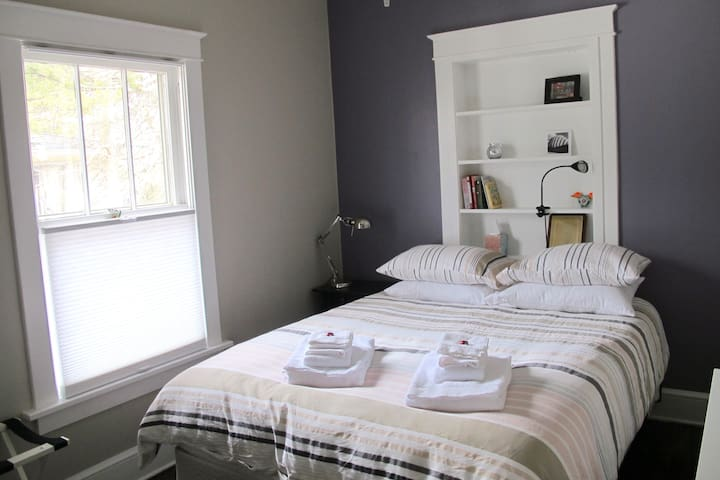 The Purple Bedroom is great for napping before a Game or an evening on the town.