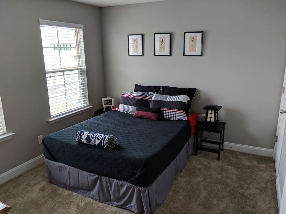 The bedroom with comfortable memory foam mattress.
