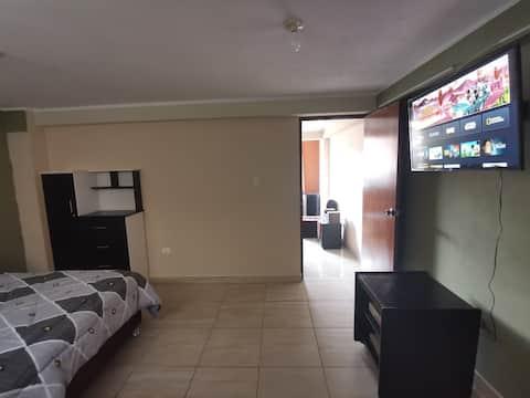 Minidepartamento con sala más dormitorio con baño.