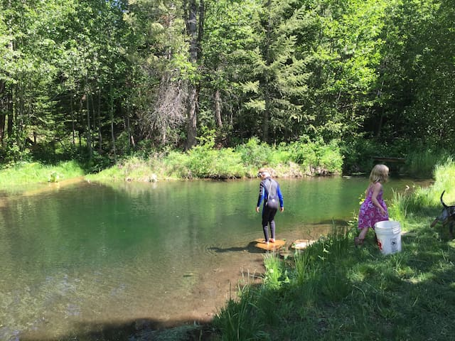 Upper trout pond for fishing and swimming.
