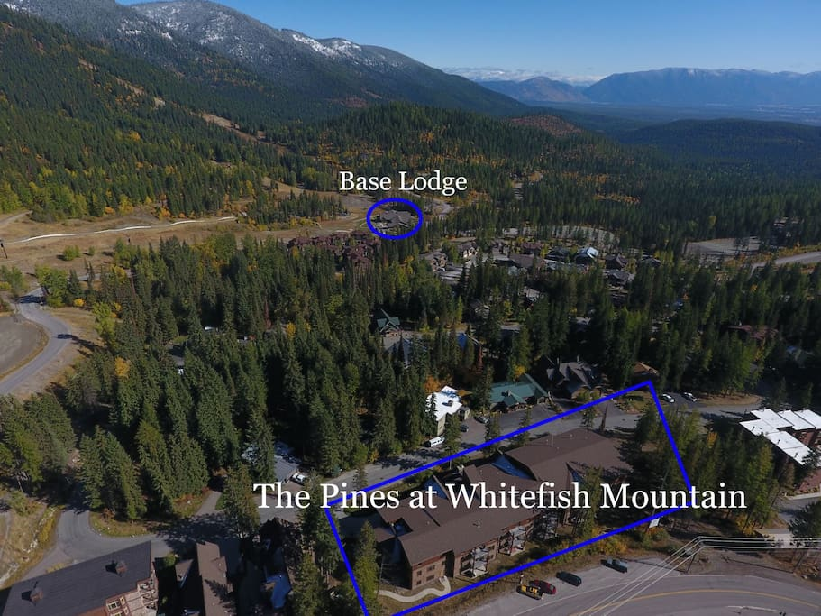 Aerial view of The Pines at Whitefish Mountain shows close proximity to Base Lodge.