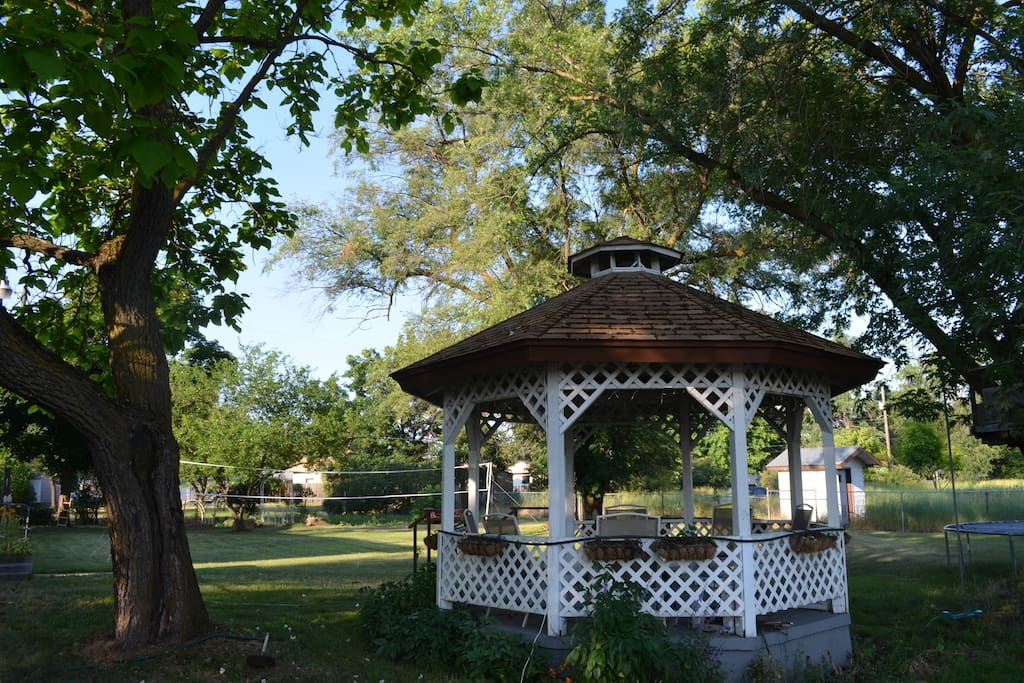 Our 1/2 acre yard has large gazebo, volleyball, basketball area, covered patio, veggie garden, and many perennial gardens.