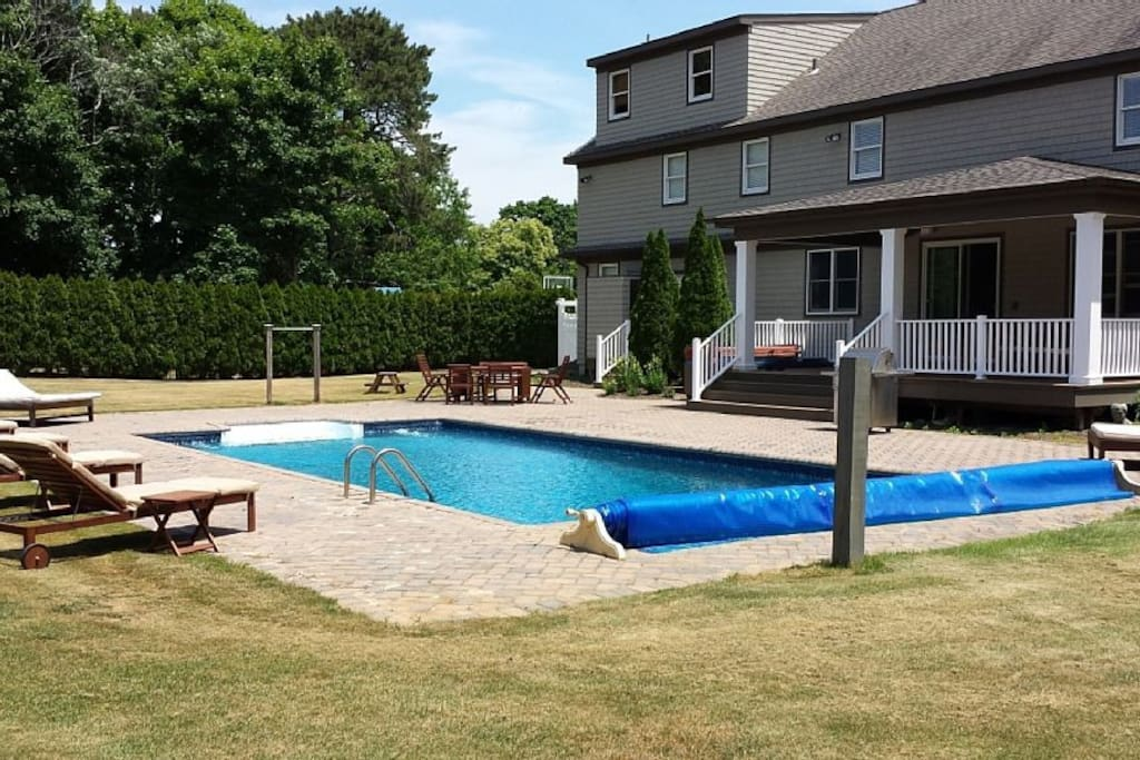 Backyard with 20x40 in-ground pool, secluded and hedged in