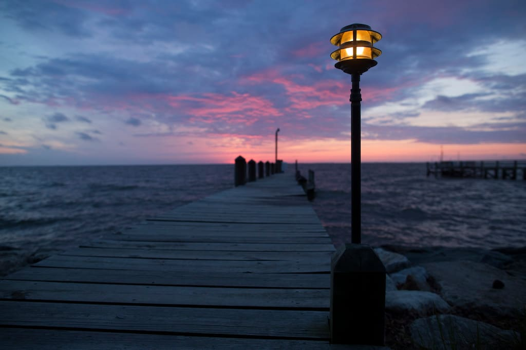 The colors of the sunrise are spectacular.  Be sure to have your morning coffee on the dock.