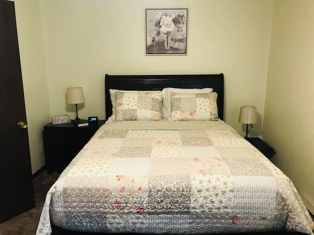 Brand new bed and queen mattress is perfect for a good night's rest
