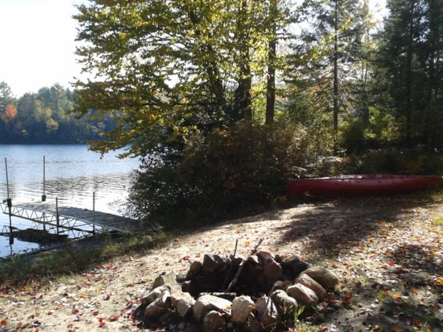 Gently sloped lakefront & fire pit