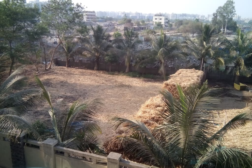 View of farm from balcony of sitting area