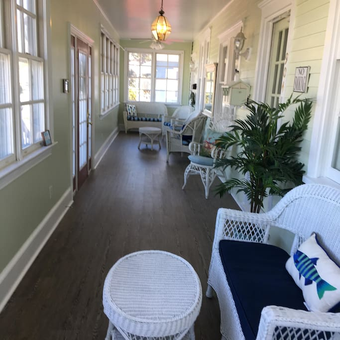 This porch has brand new flooring and was freshly painted!