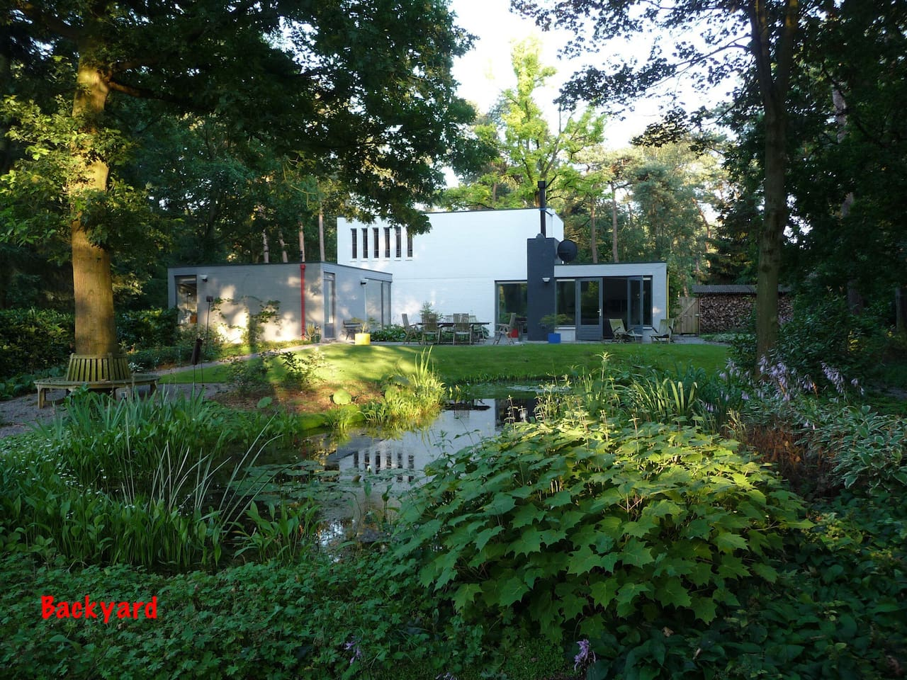 large garden in a wooded area