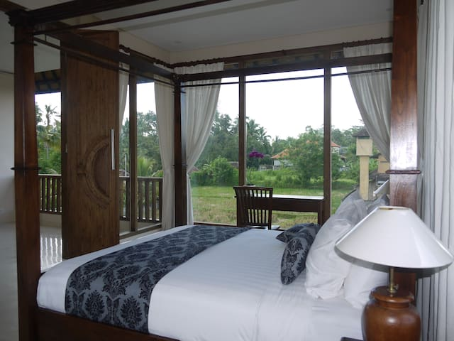 Spacious Master Bedroom with direct view to the rice paddies