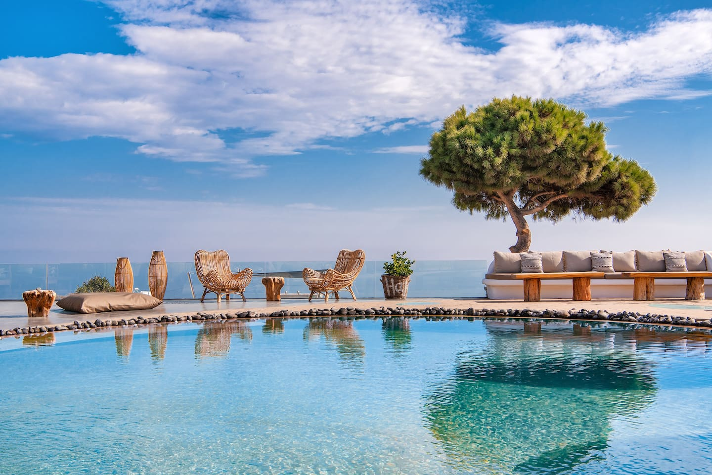 Beach pool with sea view