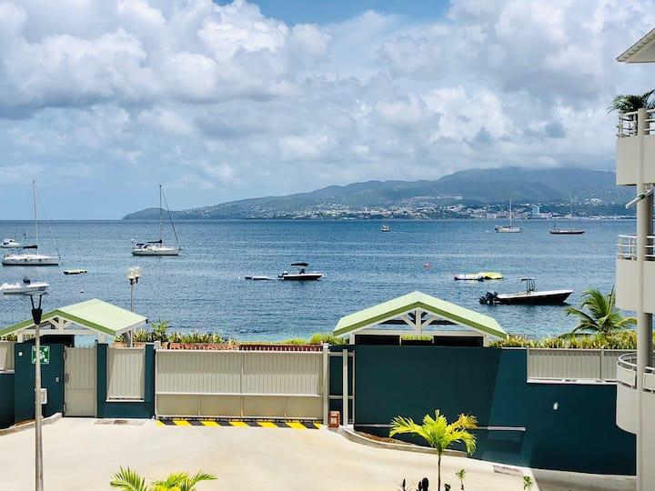 Chic T2 Anse-Mitan, belle vue mer, face à la plage