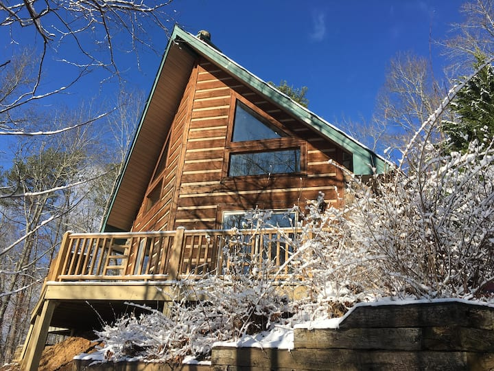 Authentic A-Frame Log Cabin Nestled Atop Mountain!