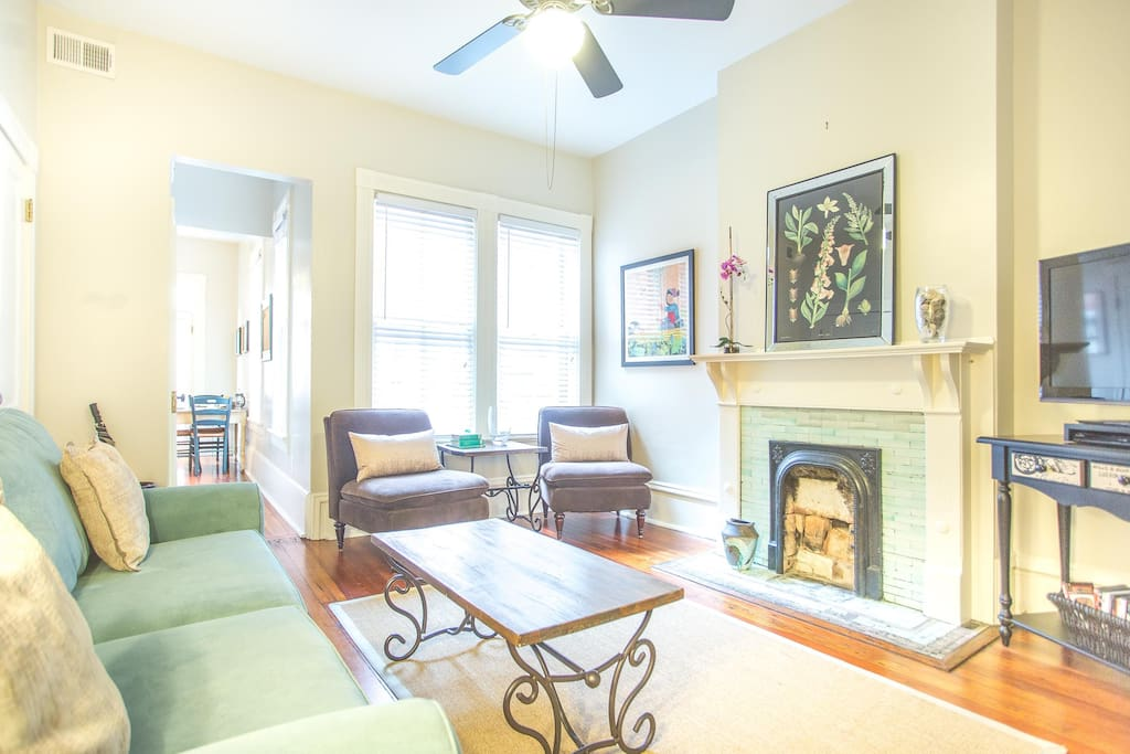 You'll love the original hardwood floors and fireplace (decorative only now)