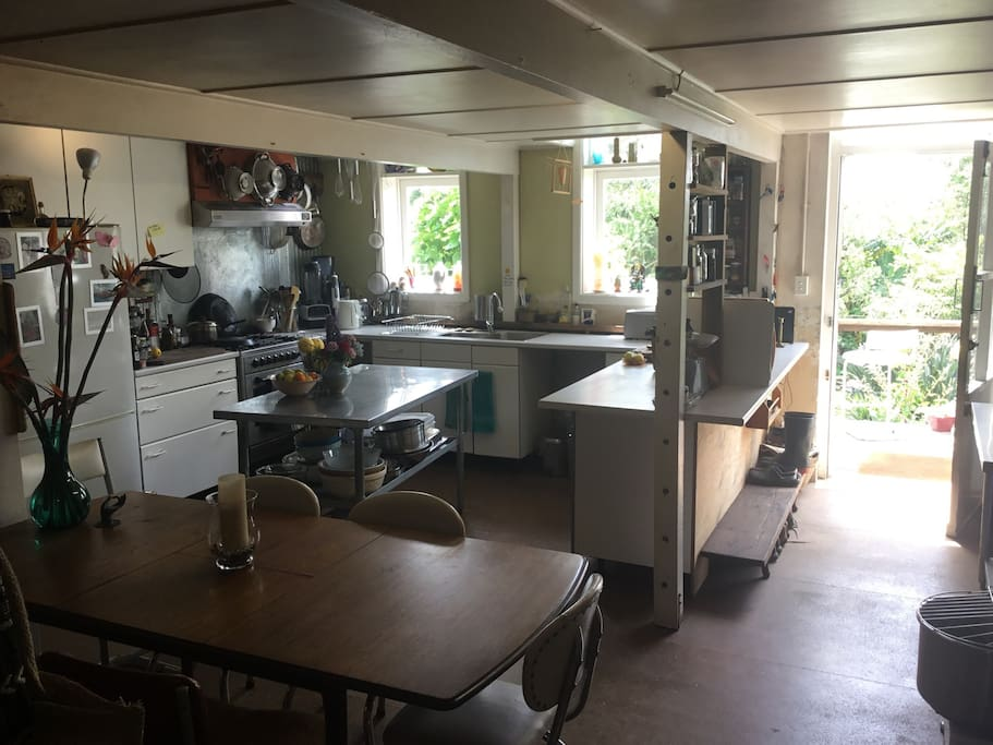 Huge kitchen well stocked with herbs & spices, and a pantry of items if you forgot to bring sometning with you! And an awesome wood cooker for cooking slowly & making your stay warm.