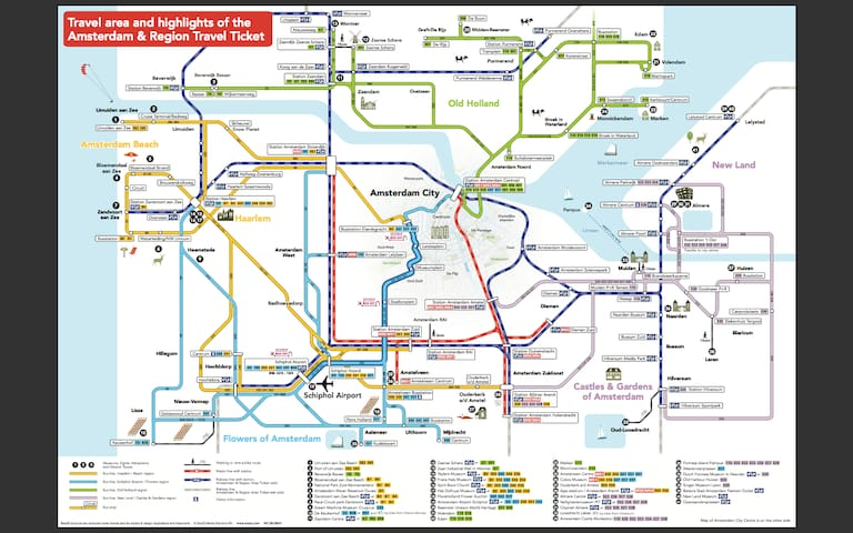 A map for public transport in Amsterdam and area