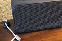DETAILS!  A cordkeeper for your power cord to charge all your devices and bluetooth speaker to play your jams!