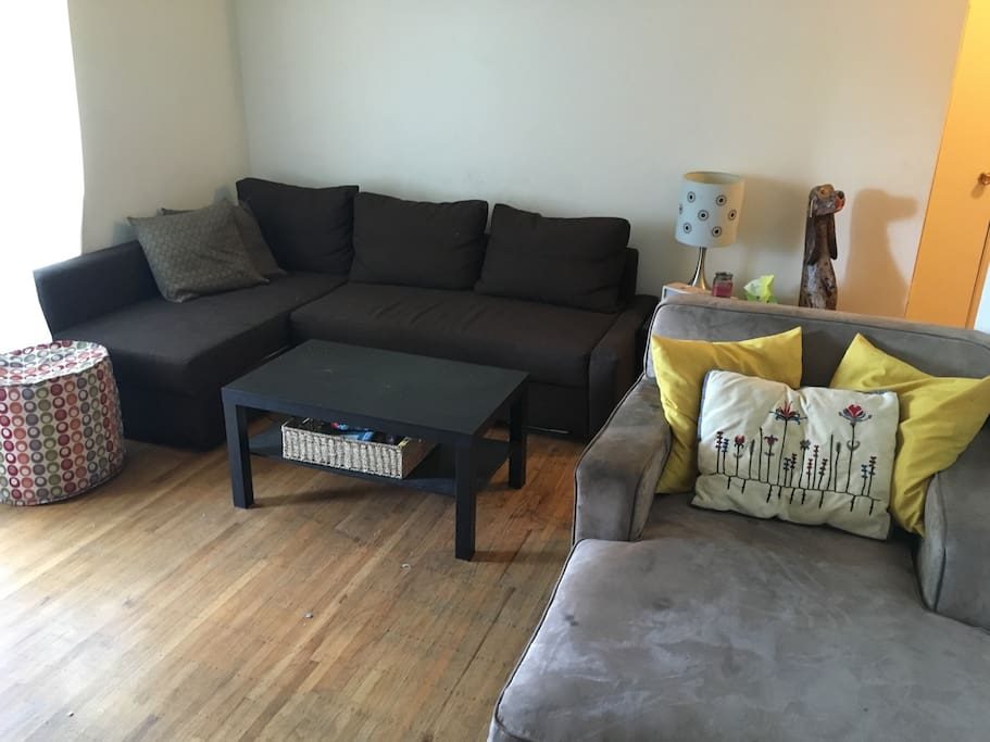 Living room with brand new pull out sofa, cable TV, wifi !