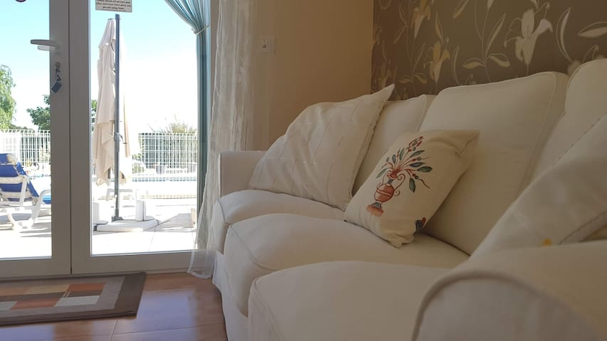 Comfortable sofas and with a great view too!
