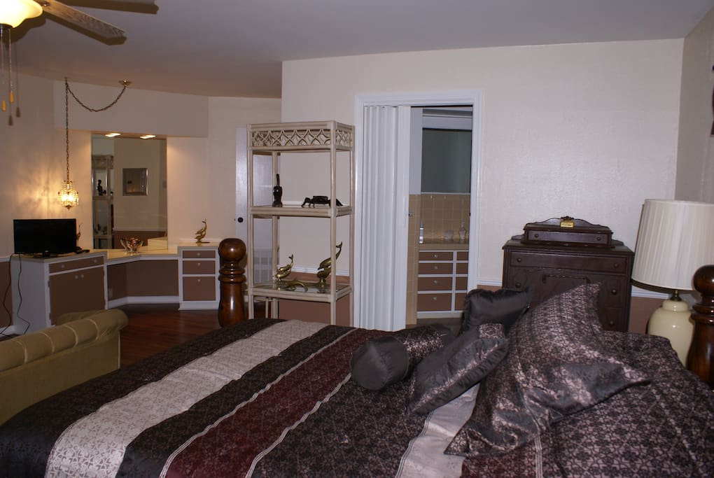 This comfortable suite includes a private bathroom and sitting area.