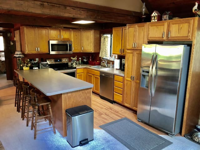 Fully functional updated kitchen with 4 bar stools