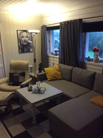Fra stua. Sofaen kan bli dobbel sovesofa.