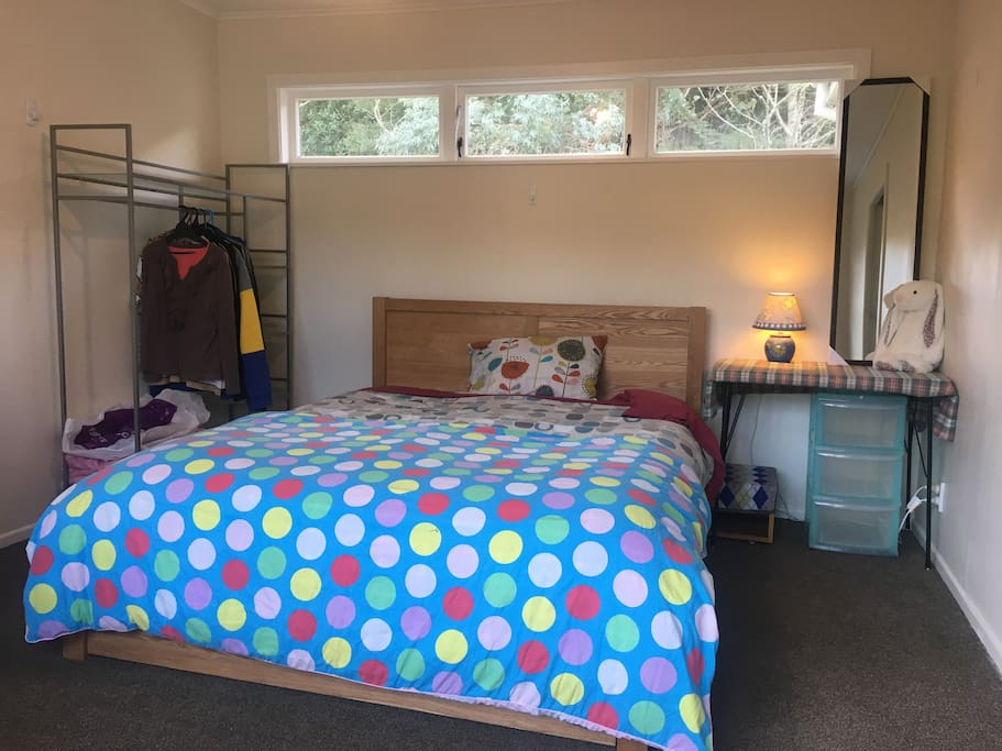 Queen size bed, bright n light with big windows; additional sofa bed available if required in this room