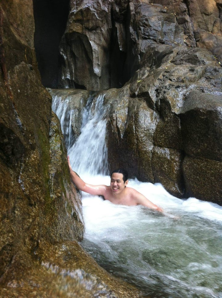 Enjoying natural jacuzzi at river