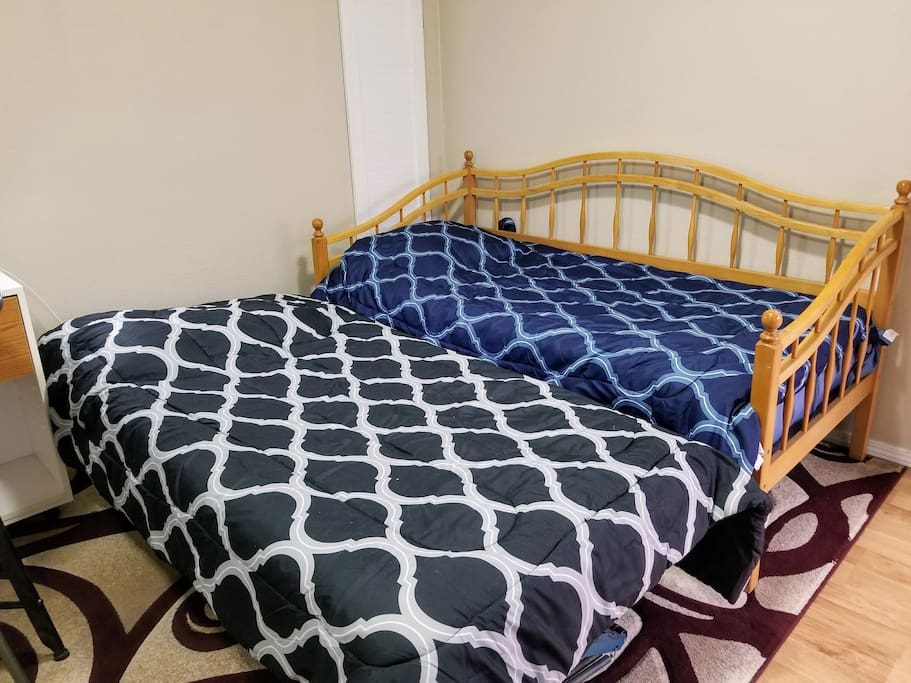 Trundle bed for +1. Let us know and we'll have it setup before your arrival