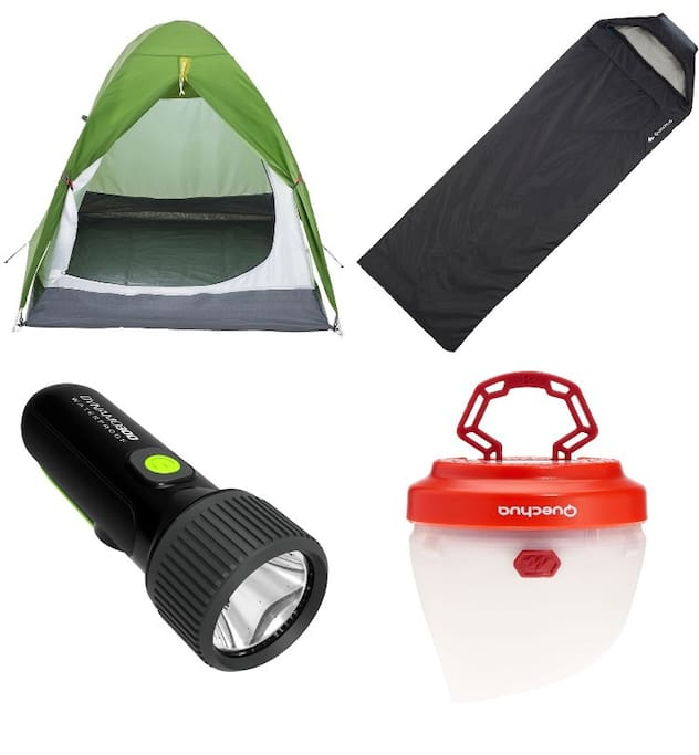 We provide a tent, 2 comforters, 2 lamps and a torch
