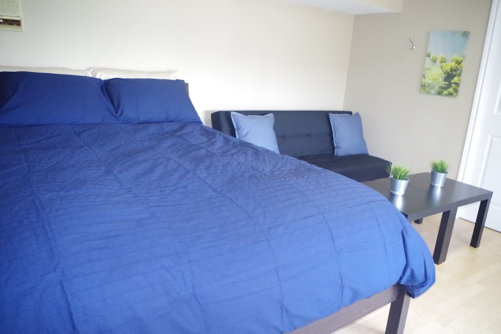 Bedroom with Queen bed and futon, with large lake facing window.