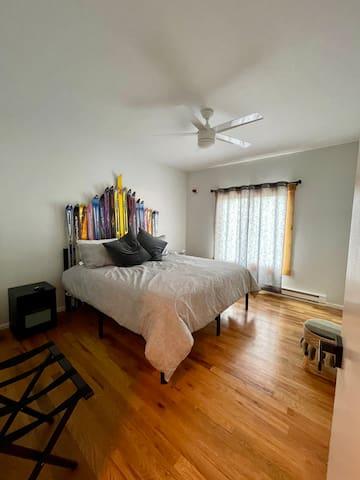 Custom King bed in spacious master bedroom