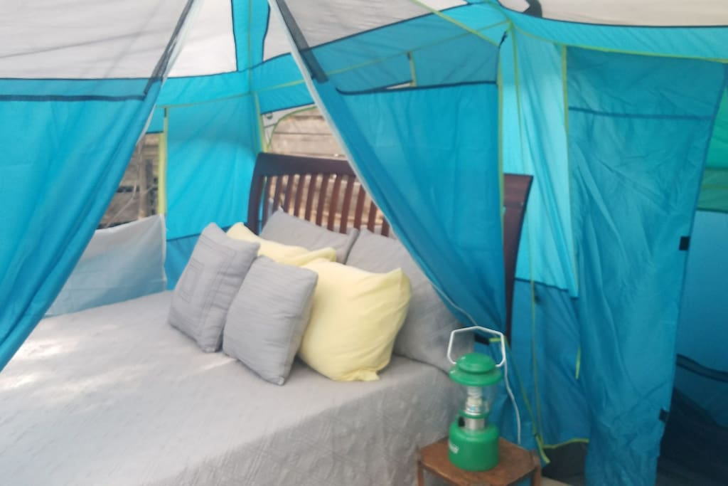 Comfy queen size real bed. Tent is waterproof and wind proof.