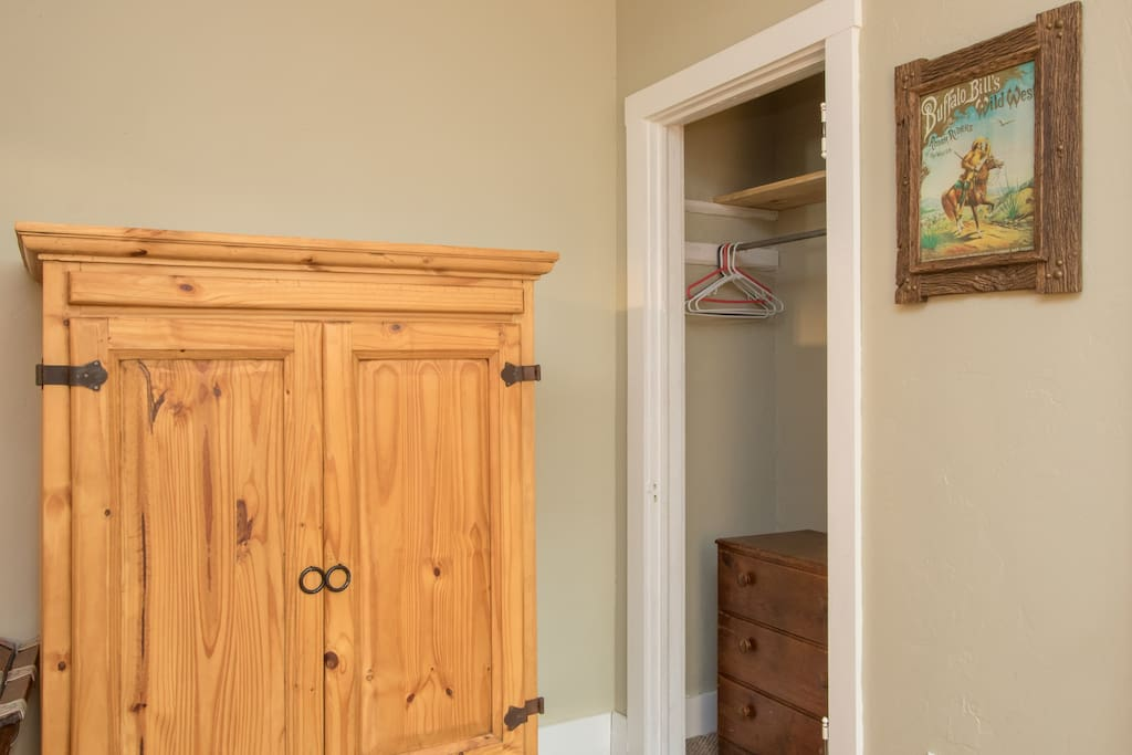Closet and armoire provides storage