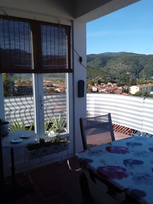 Rear terrace for having breakfast or watching the sunset overlooking the village of Prades and surrounding area