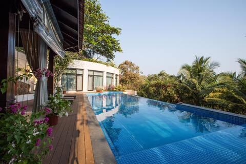 Portuguese styled 5BHK luxury seaview villa w/pool