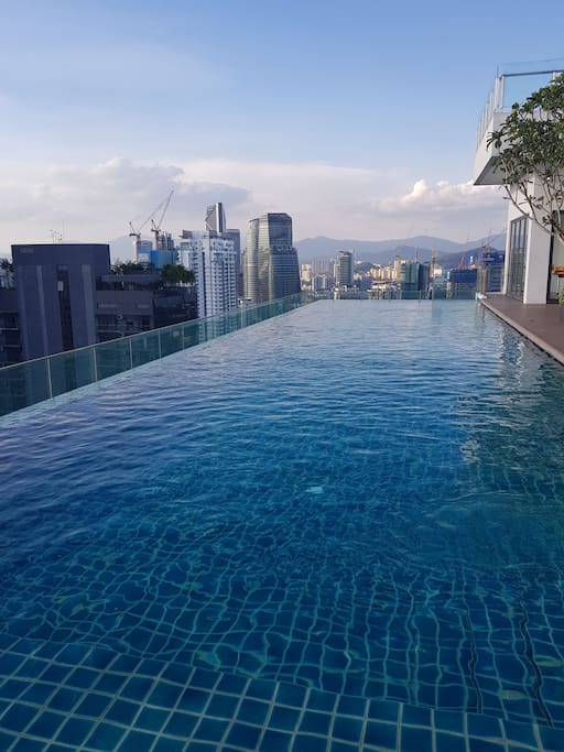 Daytime view of the rooftop swimming pool
