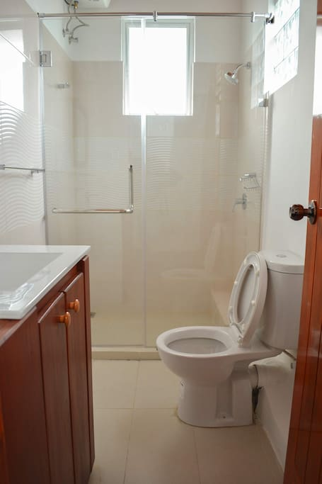 Attached Toilet with Hot water etc.