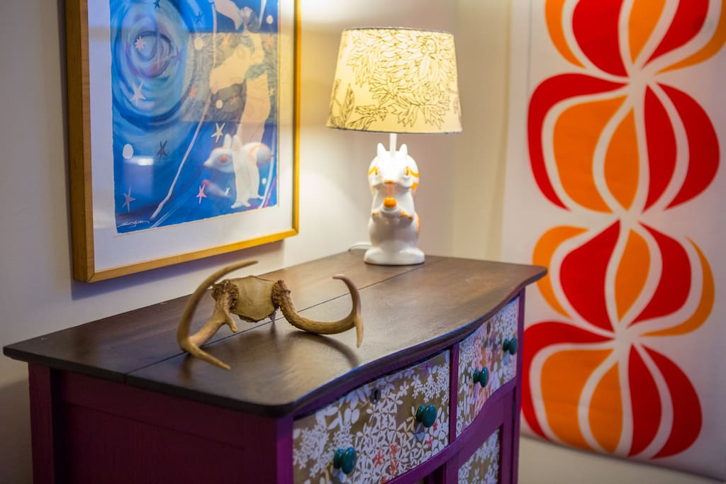 Detail of beautiful hand painted dresser and squirrel lamp!