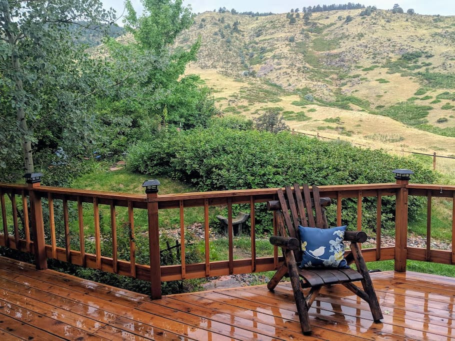 Big wrap-around deck. Great for watching wildlife and hanging out.