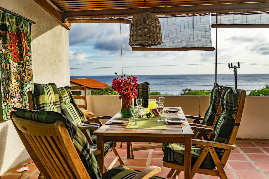 Dine overlooking the ocean -- visible as far as the eye can see!