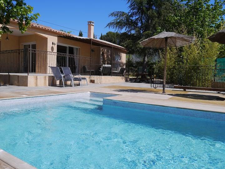 Villa clim avec piscine, spa, entrée autonome.